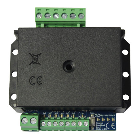 Creasol DomBus1: Domoticz board with 3 relays, 6 inputs, 1 AC input