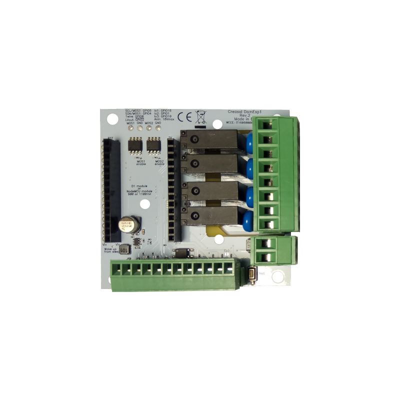 DomESP2 board with socket for NodeMCU V3 with 900 mils pitch.