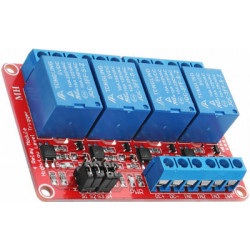 Relay board, 4 relays 5V 250V 10A, with optocoupler